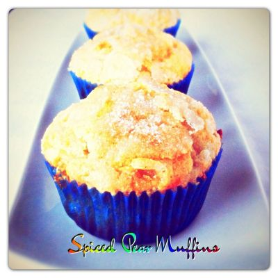 Spiced Pear Muffins with Candied Ginger