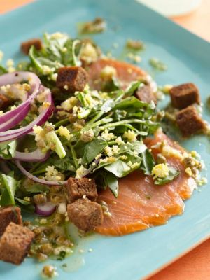 Lemon Caper Vinaigrette paired with Smoked Salmon and Watercress