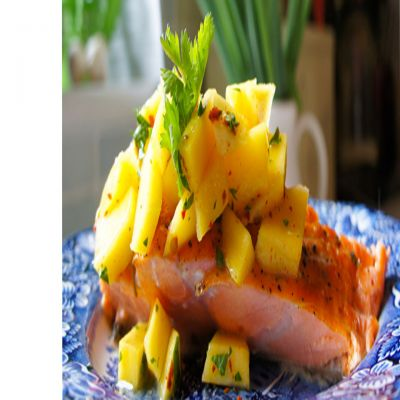 Caribbean Jerk Salmon with Mango, Strawberry, and Pineapple Salsa ...