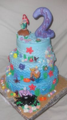 little mermaid tierd cake