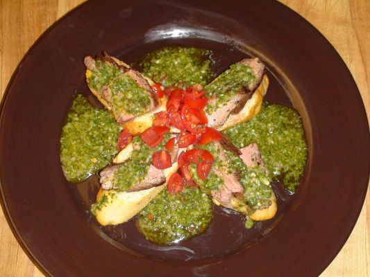 Grilled flank steak w/chimichuri tapas style