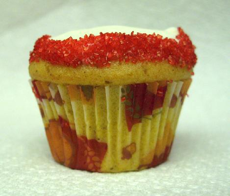 Pumpkin Spice Mini Cupcake with Cream Cheese Frosting and Red Sand Rim