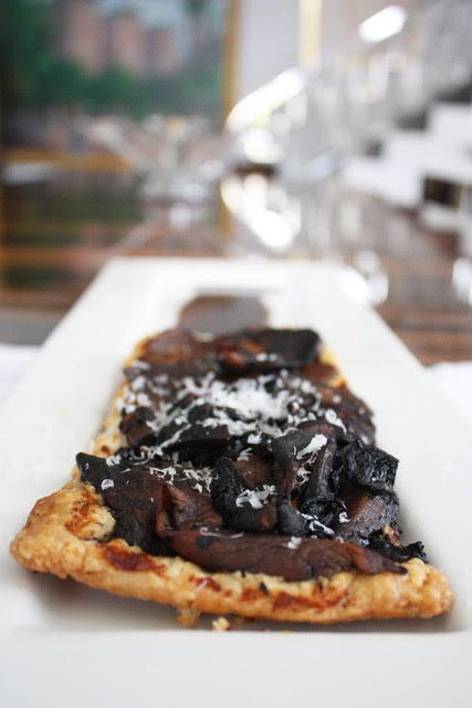 PORTABELLA AND SHIITAKE MUSHROOMS OVER PESTO WITH PUFF PASTRY CRUST
