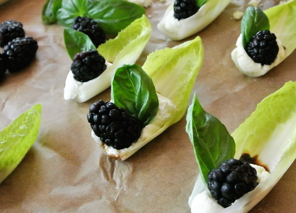 Feta Mousse on Endive with Blackberry and Balsamic Reduction