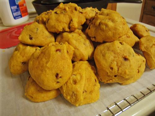 Soft Pumpkin Cookies w/ Craisins and Walnuts