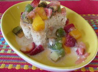 Tres Leches Cake (with Rum Fruit Topping)