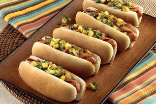Grilled Peach Salsa-Topped Franks
