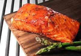 Cedar Planked Salmon with Honey Lime Dressing