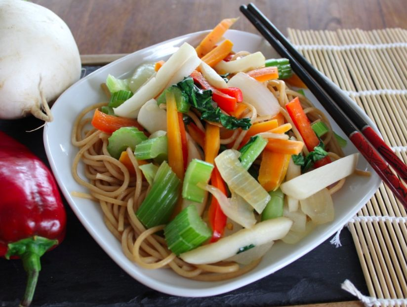Quick Veggie Noodle Bowl with Homemade Teriyaki Sauce