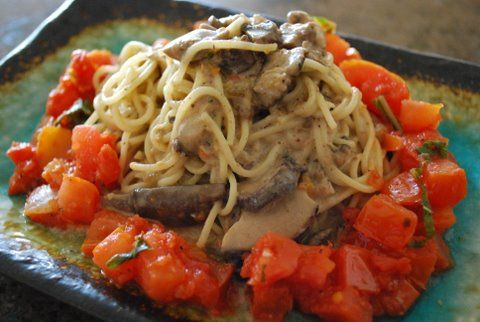 Angel hair pasta with a delightful yet simple mushroom sauce
