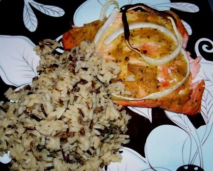 Grilled Salmon with Butter Dill Sauce and Wild Rice