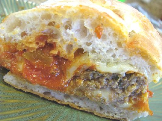 Mozzarella Stuffed Meatball Hoagies