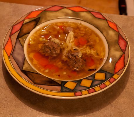 Lamb and Turkey Liver Meatballs and Turkey Soup
