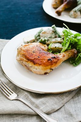 Mustard Brick Chicken with Green Goddess Bean and Fingerling Salad