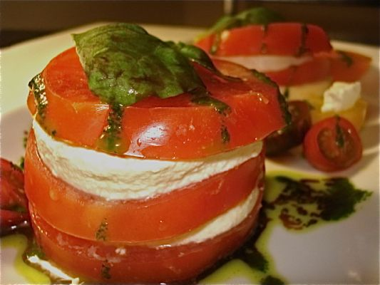 Caprese Salad with Basil Oil and Herbed Sea Salt