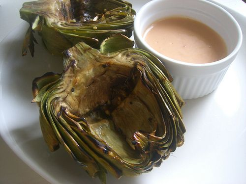 Grilled Garlic Artichokes with Spicy Garlic Aioli