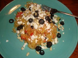 Spaghetti Squash with Sauteed Veggies, Pine Nuts, Olives & Feta