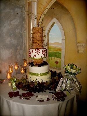 wine themed wedding cake