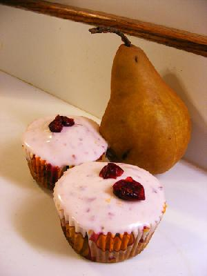 Spiced Pear Cupcakes with Cranberry-Orange Filling