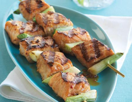 Teriyaki Salmon and Green Onion Kabobs
