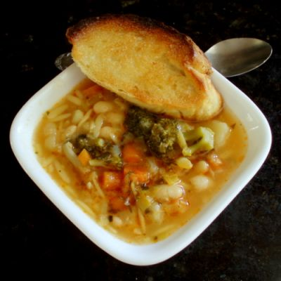 Provincal Vegetable Soup with Garlic, Basil and Herbs