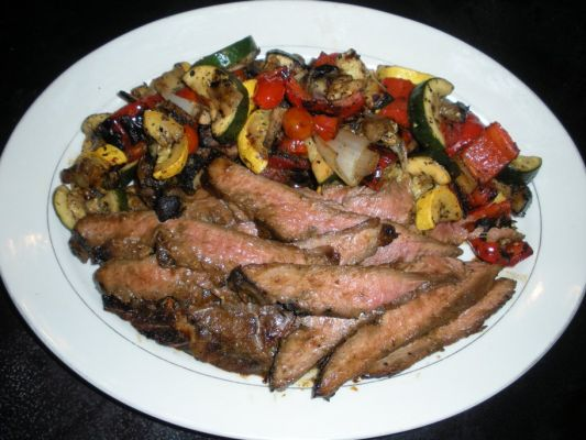 Grilled honey-soy flank steak with marinaded grilled veggies. (Vote for my steak recipe here: http://www.mixingbowl.com/group/contest/view.castle?g=2057192)