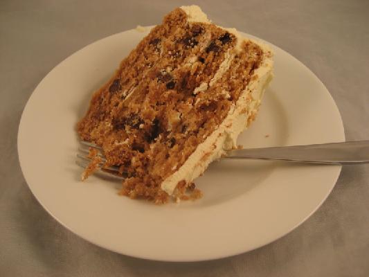 Peanut Butter Chocolate Chip Cake with White Chocolate Frosting