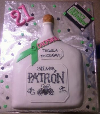2D Patron bottle cake