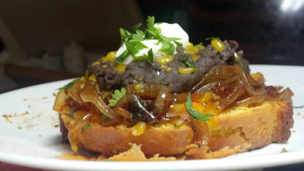 Jalapeno Cornbread with Caramelized Chipotle Onions and Smashed Black Beans
