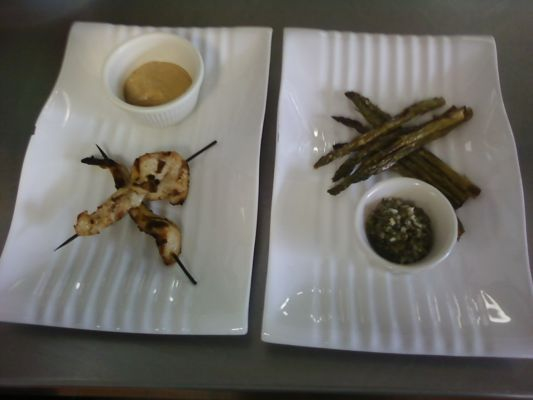 Nutrtion Class - Chicken satay with spicy peanut sauce and roasted asparagus with lemon caper relish