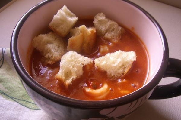 Spicy Calimari Stew with Parmesan Sourdough Croutons