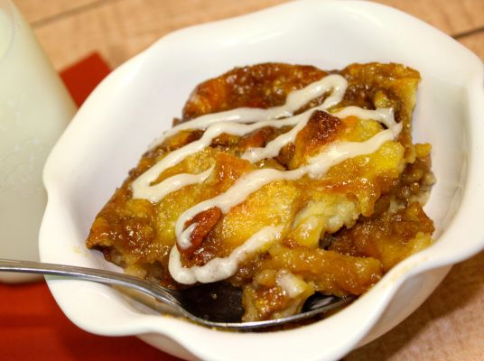 Southern Butter Pecan Bread Pudding with Cream Cheese Icing Drizzle