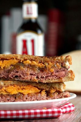 A1 Roast Beef, Caramelized Onion, and Cheddar Grilled Cheese