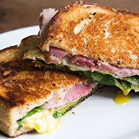 GRILLED HAM, CHEESE AND PICKLE SANDWICH