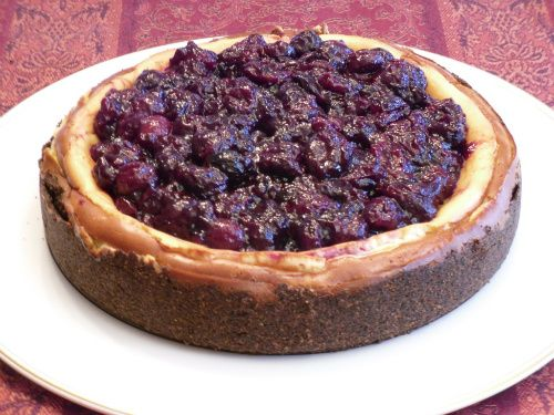 Cherry Cheesecake with Chocolate Almond Crust
