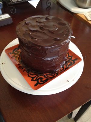 Final product chocolate cake with chocolate fudge frosting