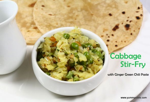 Cabbage Stir-Fry ( with Ginger and Green Chili Paste)