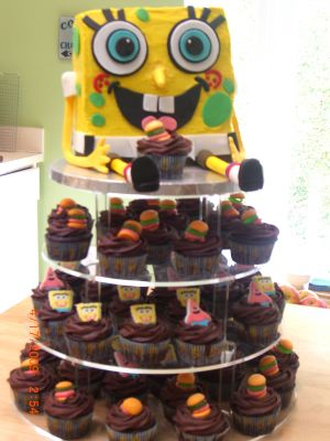 spongebob cake and cupcake tower