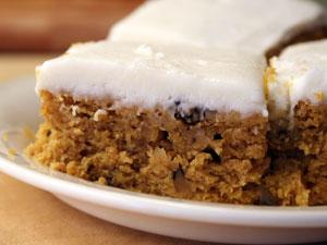 Pumpkin Spiced Bars With Cream Cheese