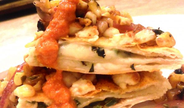 Cotija Crusted Quesadillas with Basil and Jalapeno, Topped with Sweet Balsamic Corn and Smoked Red Pepper Sauce
