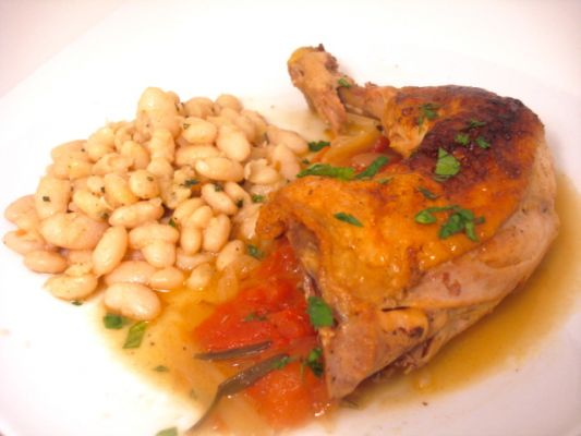 Braised Chicken Leg with White Beans with Rosemary and Garlic