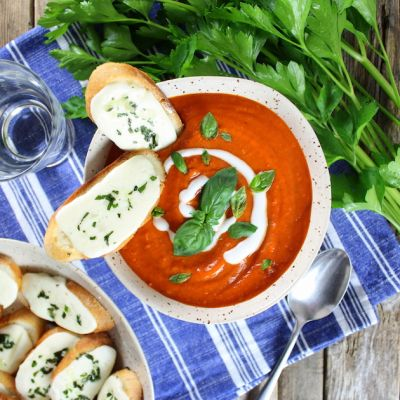 Smoky Harvest Tomato Soup with Mozzarella Crostini
