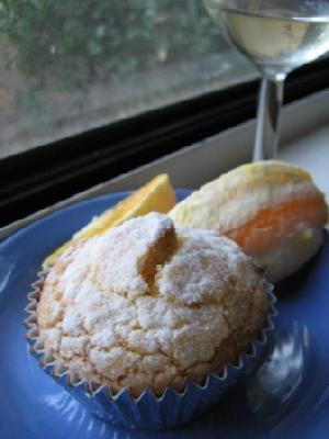 Orange & Cornmeal Cupcakes with White Wine & Olive Oil