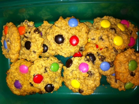 Chocolate Chip Oatmeal Cookies with Smarties