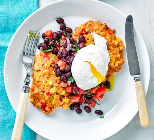 Sweetcorn fritta with egg and black bean salsa