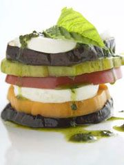 Funky Fresh Tomato, Eggplant, and Mozzarella Stacks