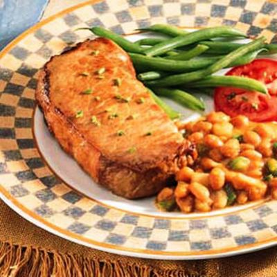 CAROLINA GOLDEN PORK CHOPS & BAKED BEANS
