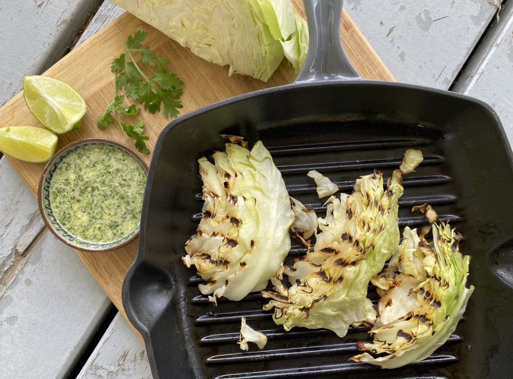Braised Cabbage with Spicy Lime Dressing