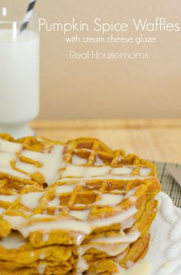 Pumpkin Spice Waffles w/Cream Cheese Glaze