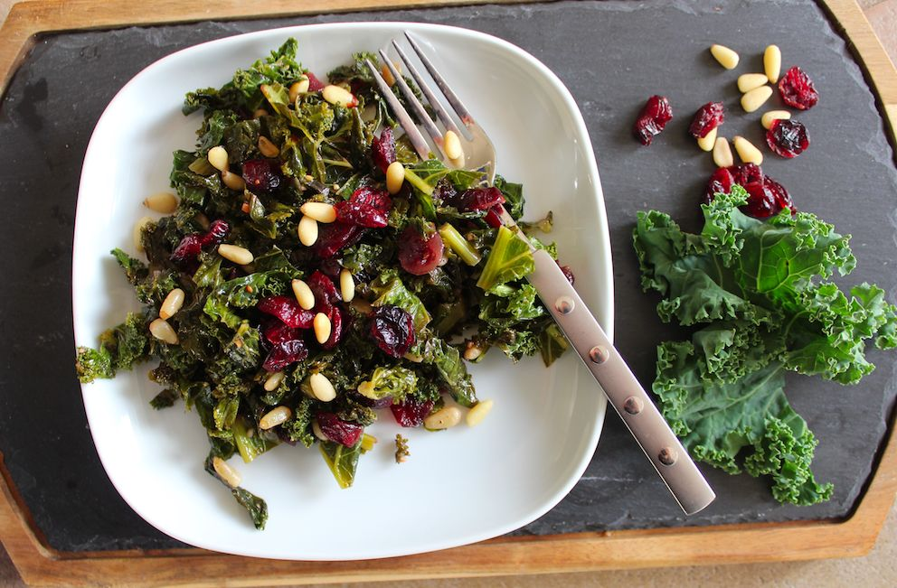 Braised Kale with Cranberries and Pine Nuts